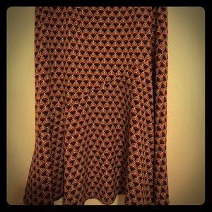 Cute Career Skirt - Orange, Brown & Cream - Med